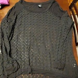 Black crocheted top from Nordstrom